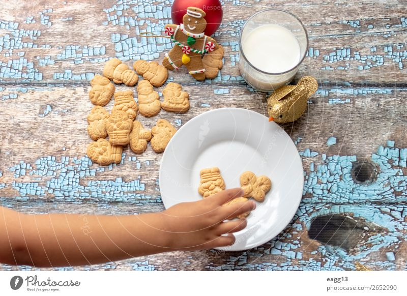 Cute little girl is playing with Santa's cookies and milk Eating Lifestyle Joy Happy Beautiful Playing Winter Table Feasts & Celebrations Christmas & Advent