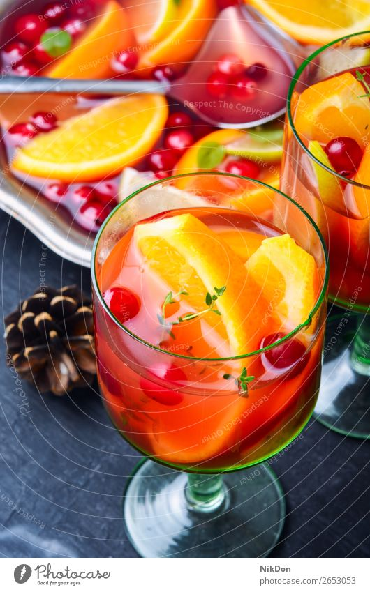 Mulled wine drink sangria mulled wine red orange alcohol beverage glass punch sweet holiday christmas fruit spice winter hot anise traditional xmas citrus warm