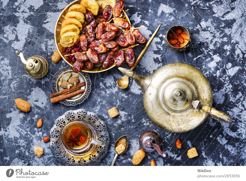 Cup of Turkish tea oriental drink fig fruits cup healthy teapot east hot beverage chinese asian herb table eastern arabic turkish relaxation arabian exotic