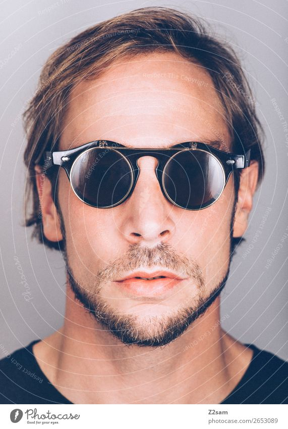 sunglasses Lifestyle Elegant Style Masculine Young man Youth (Young adults) 18 - 30 years Adults Fashion Sunglasses Brunette Long-haired Facial hair