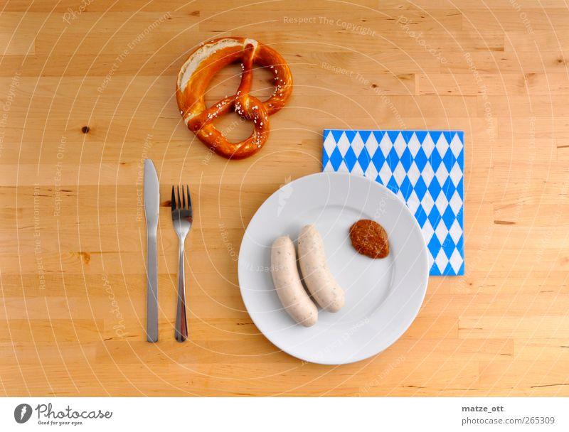 Snack in Bavarian Food Sausage Nutrition Breakfast Crockery Plate Knives Fork Wood To enjoy Veal sausage Mustard Pretzel Napkin Cutlery Breakfast table