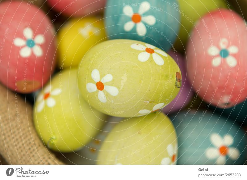Colourful Easter Eggs with flowers painted Design Happy Beautiful Decoration Feasts & Celebrations Group Nature Spring Flower Wood Natural Blue Green Pink White