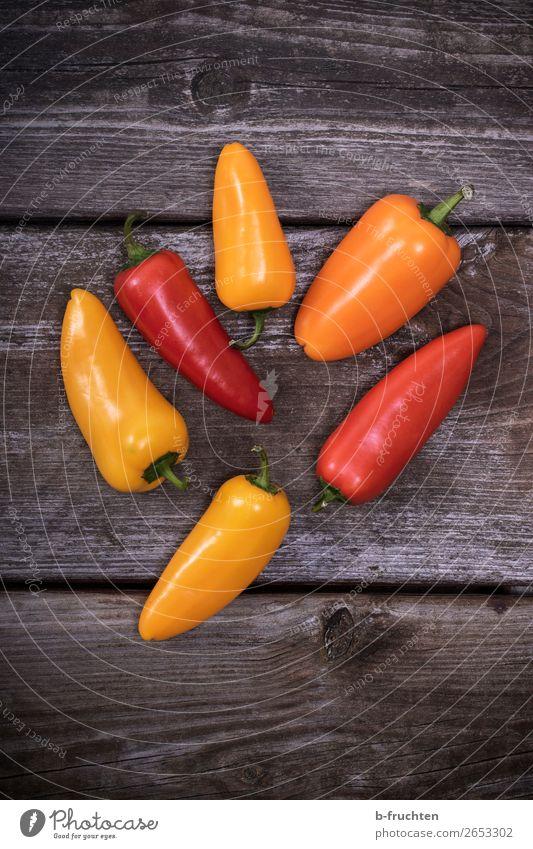 Sweet peppers, snack peppers Food Vegetable Picnic Organic produce Vegetarian diet Slow food Healthy Eating Wood Select Yellow Orange Red To enjoy sweet peppers