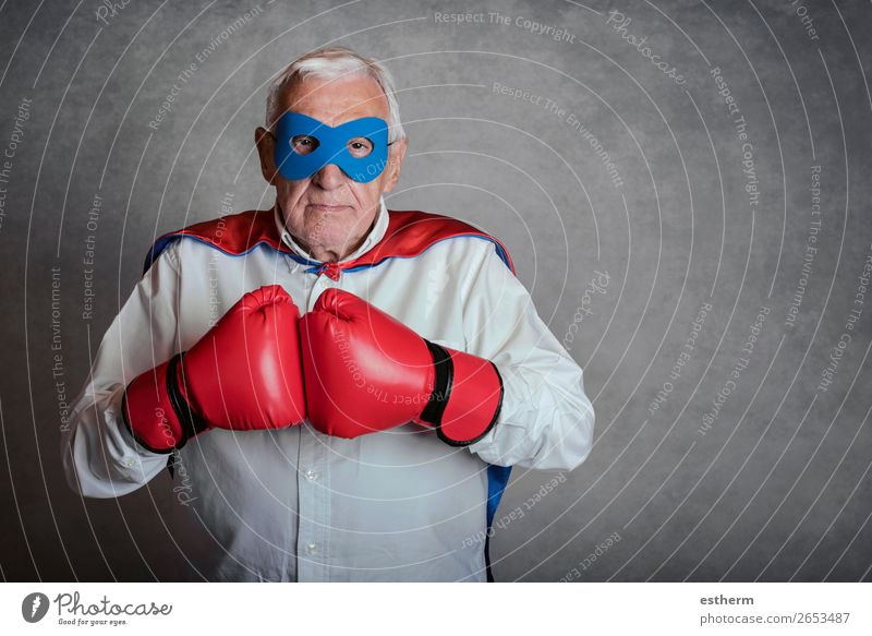 Super grandpa, senior man dressed as a superhero Lifestyle Playing Adventure Freedom Feasts & Celebrations Fairs & Carnivals Success Retirement Human being