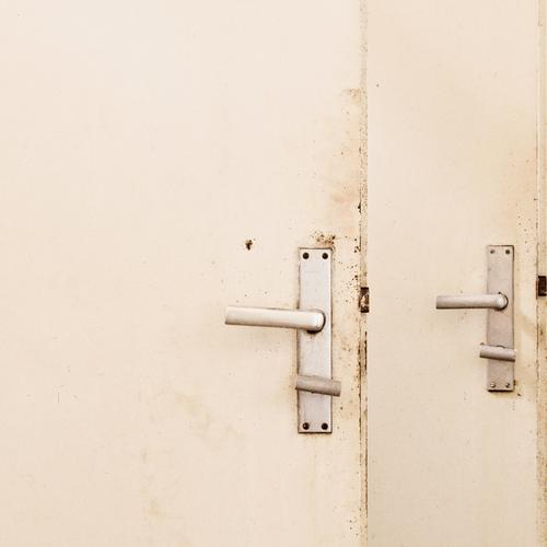 analog LogOut Redecorate Bathroom Door Wood Metal Trashy Gloomy White Bans Decline Transience Door handle 2 Toilet Close Closed Open Square Dirty Derelict Town