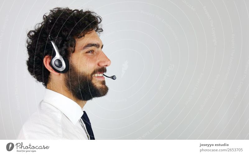 Handsome consultant of call center Adjust Agent assistance Business Call center Client Communication Customer Doubt Executive Face Headphones Help Information