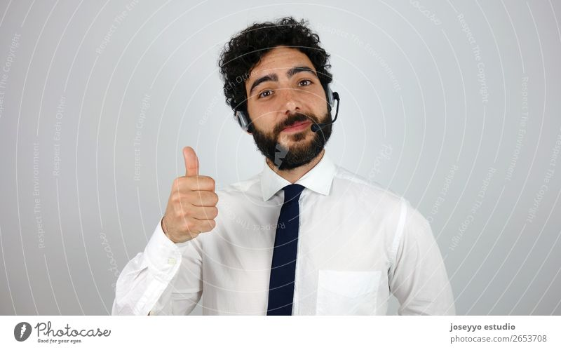 Call center whit the ok sign Youth (Young adults) Young man Adults Business Smiling Success Cool (slang) Help Sign Friendliness Thin Self-confident Considerate