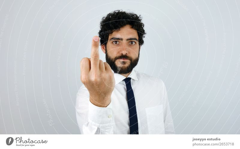 Fuck You. Handsome man with shirt giving the finger. Lifestyle Work and employment Profession Office Economy Financial Industry Business Man Adults
