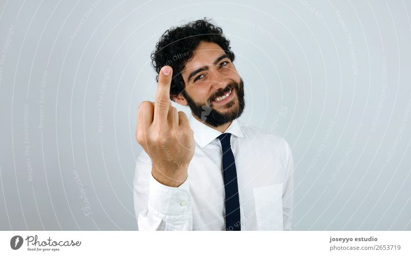 Fuck You Young man Youth (Young adults) 30 - 45 years Adults Shirt Tie Brunette Curl Moustache Beard Sign Smiling Disgust Crazy Middle finger Anger Business Man