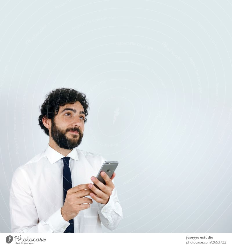 Business man with mobile phone in his hand Vacation & Travel Man Food Adults To talk Technology Smiling Telecommunications Success Future Shopping
