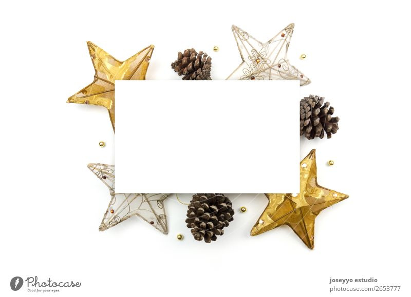 Creative Christmas layout. White Winter Happy Feasts & Celebrations Copy Space Above Design Decoration Gold Creativity Gift Card Craft (trade) Fir tree Top