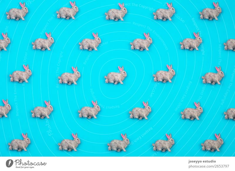 Creative and minimal pattern made of rabbits. Blue Animal Background picture Design Decoration Arrangement Creativity Paper Cool (slang) Simple Sign Easter Card