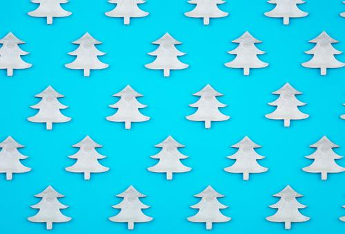 Blue background. Flat lay top view. Design Winter Decoration Feasts & Celebrations Craft (trade) Paper Simple Above White Creativity Banner border arrangement