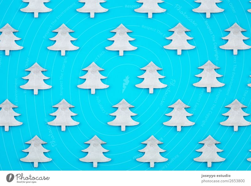 Blue background. Flat lay top view. White Winter Feasts & Celebrations Above Design Decoration Creativity Gift Paper Simple Card Christmas tree Craft (trade)