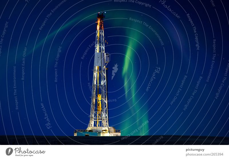 Drilling Rig Northern Lights Sky Landscape Work and employment Energy industry Construction site Industry Technology Agriculture Steel Dusk Mast Night sky