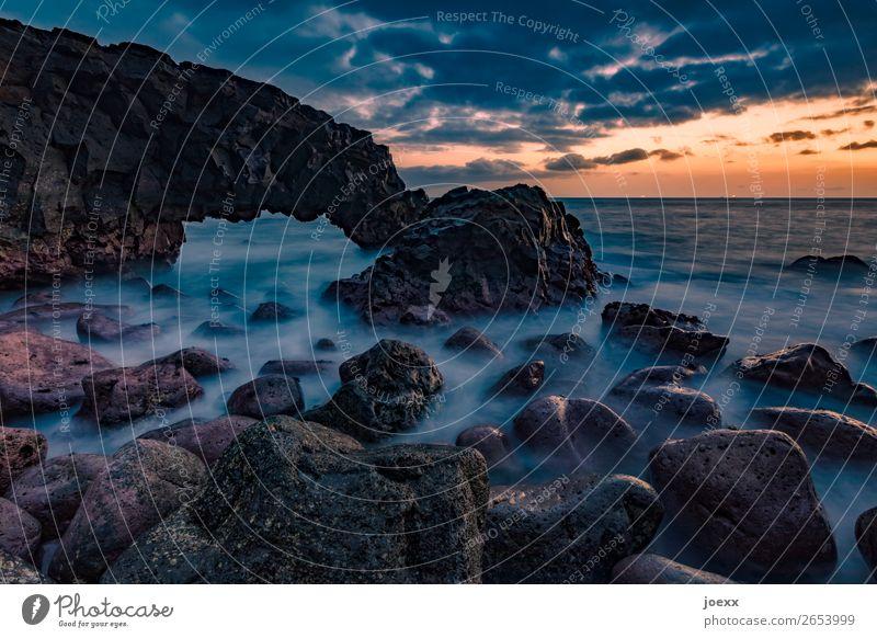 readily Nature Landscape Water Sky Clouds Sunrise Sunset Rock Waves Coast Ocean Sharp-edged Large Maritime Soft Blue Brown Orange Black Wanderlust Horizon Idyll
