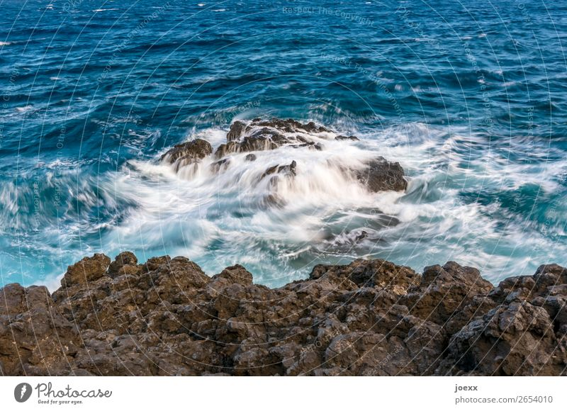 You stay Water Rock Waves Ocean Sharp-edged Firm Fluid Blue Brown White Colour photo Exterior shot Deserted Day Contrast Deep depth of field