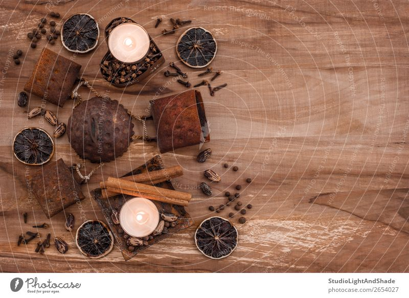 Vintage composition with rusty metal, candles and spices Old Colour Dark Wood Natural Copy Space Brown Decoration Metal Retro Table Kitchen Herbs and spices