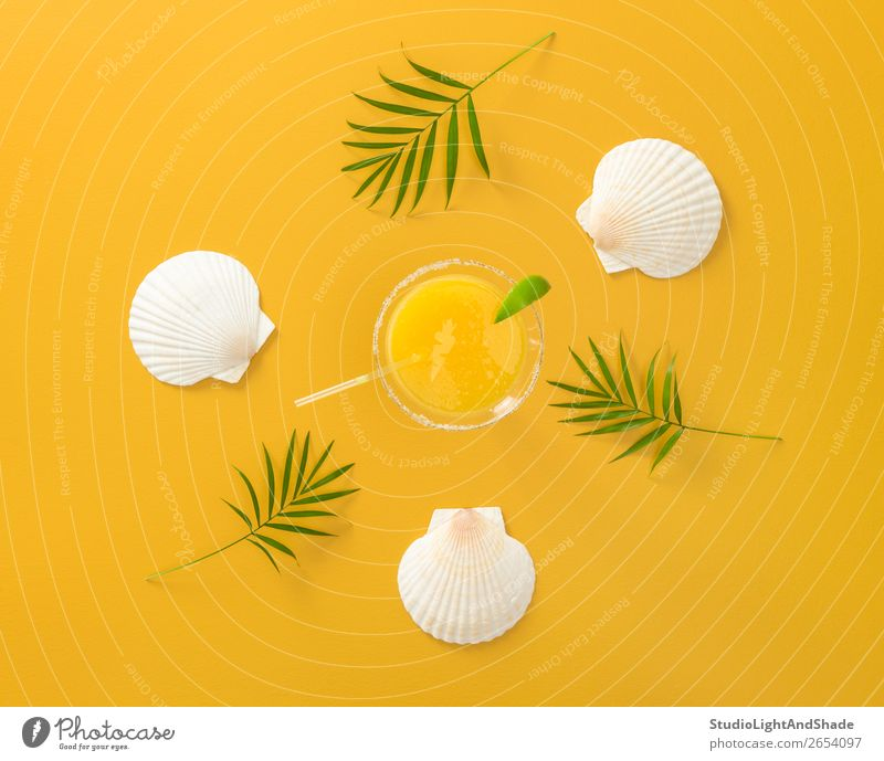 Tropical cocktail on bright summer background Nature Vacation & Travel Summer Plant Colour Green White Tree Leaf Joy Beach Yellow Natural Happy Design Bright