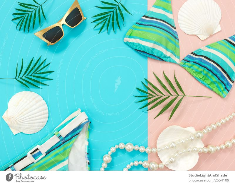 Summer fashion flat lay on blue and pink background Vacation & Travel Plant Blue Colour Beautiful Green White Tree Ocean Leaf Beach Feminine Style Copy Space