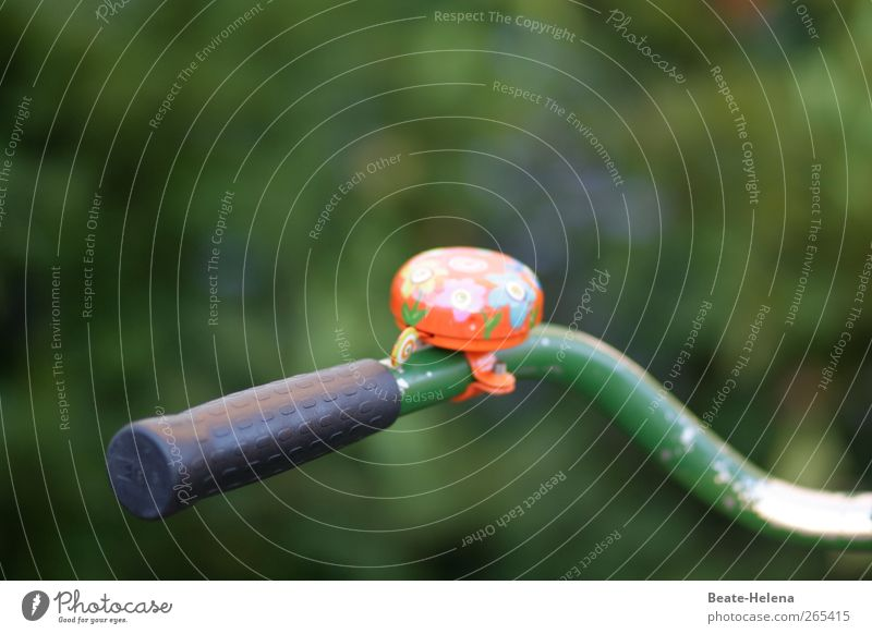 Ring the bell, here comes the egg man. Bicycle Vehicle Bicycle handlebars Bicycle bell Multicoloured Green Left-handed Exterior shot Colour photo Copy Space top
