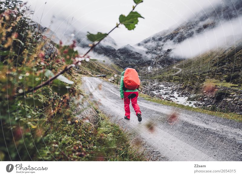 Ascent to the Braunschweiger Hütte | E5 Adventure Expedition Mountain Hiking Human being Nature Landscape Clouds Autumn Bad weather Fog Alps Glacier Rain wear