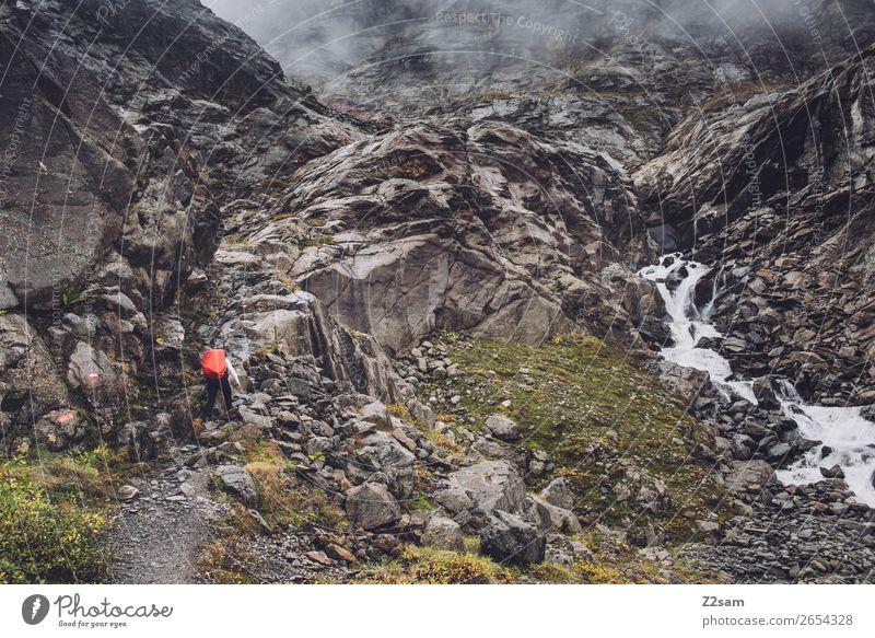 Via ferrata to the Braunschweiger Hütte | E5 Adventure Expedition Hiking Human being Nature Landscape Clouds Autumn Bad weather Fog Rock Alps Mountain Glacier