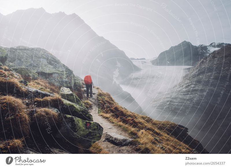 Ascent to the Braunschweiger Hütte | E5 Vacation & Travel Adventure Expedition Mountain Hiking Human being Nature Landscape Autumn Bad weather Fog Alps Glacier