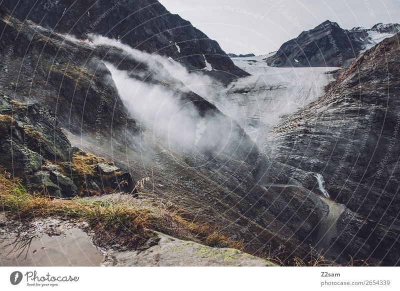 Pitztal Glacier | E5 Adventure Hiking Clouds Autumn Climate Climate change Weather Fog Rock Alps Mountain Peak Threat Gigantic Tall Loneliness Sustainability