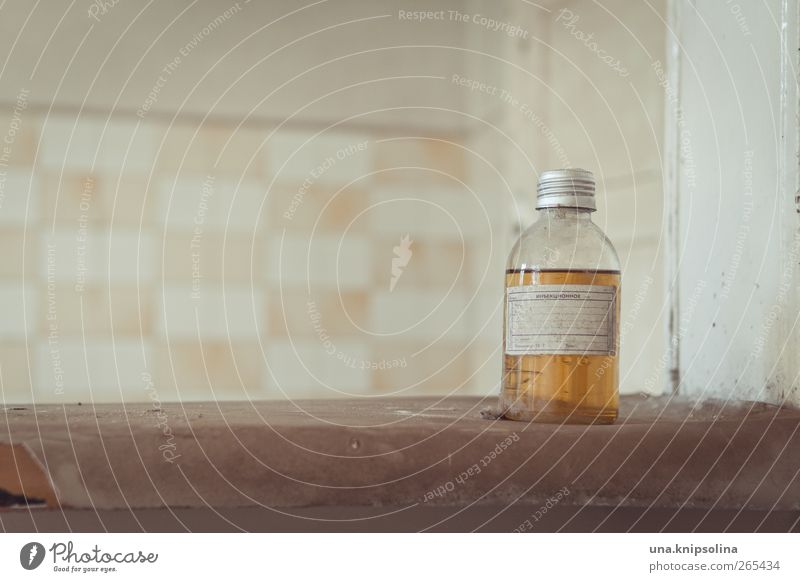 no apple juice Bottle Ruin Wall (barrier) Wall (building) Glass Dirty Fluid Yellow Tile Medication Anonymous Russian Colour photo Subdued colour Interior shot