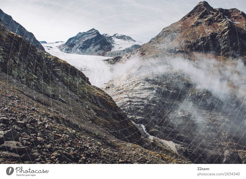 Pitztal Glacier | E5 Adventure Mountain Hiking Nature Landscape Clouds Autumn Bad weather Fog Alps Peak Gigantic Tall Loneliness Sustainability Environment