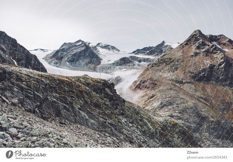 Pitztal Glacier | E5 Mountain Hiking Nature Landscape Clouds Autumn Rock Alps Peak Gigantic Tall Sustainability Loneliness Discover Leisure and hobbies Idyll