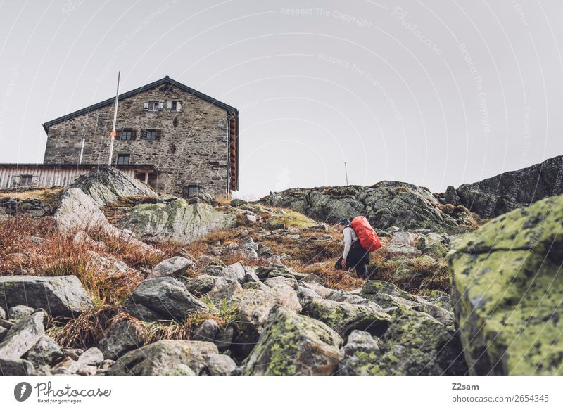 Young woman below the Braunschweiger hut | E5 Vacation & Travel Adventure Expedition Mountain Hiking Human being Nature Landscape Bad weather Rock Alps Glacier