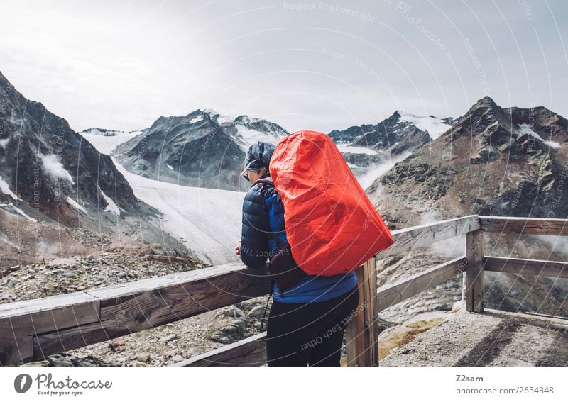 Woman with a view of the Pitztal glacier | E5 Vacation & Travel Hiking Human being Nature Landscape Alps Mountain Peak Glacier Hut Jacket Sunglasses Backpack