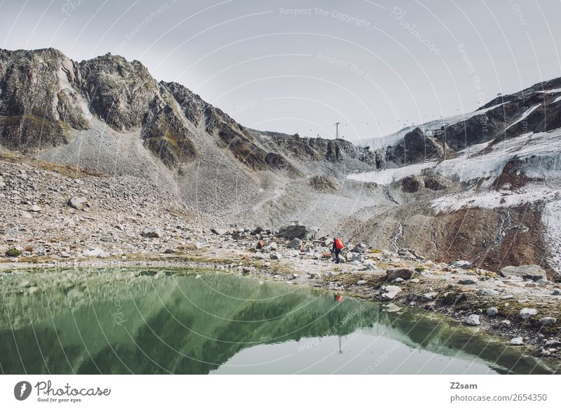 Hikers on the Rettenbach Glacier Adventure Expedition Mountain Hiking Human being Nature Landscape Bad weather Fog Alps Lake Backpack Discover Gigantic Tall