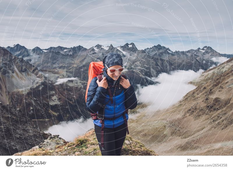 Young woman on the Pitztaler Jöchl | E5 Lifestyle Vacation & Travel Adventure Hiking Youth (Young adults) 18 - 30 years Adults Nature Landscape Clouds Autumn