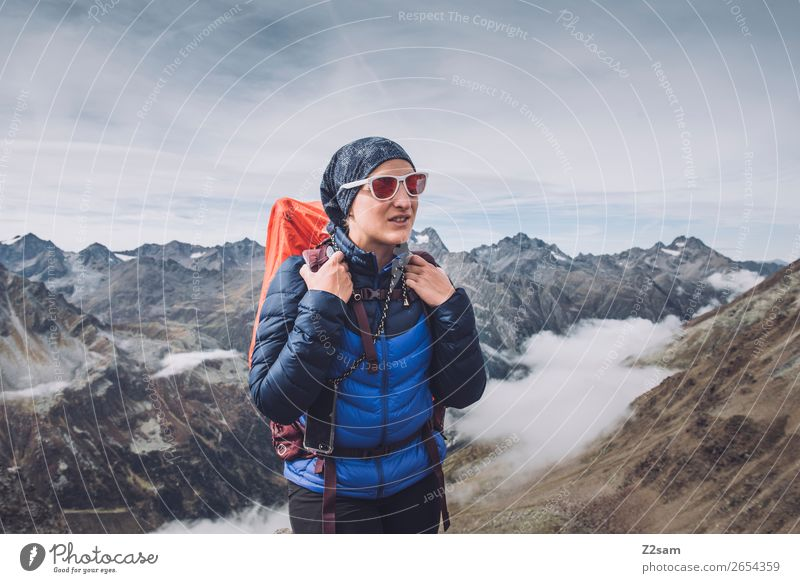Vacation & Travel Nature Youth (Young adults) Young woman Landscape Clouds Mountain 18 - 30 years Adults Autumn Environment Hiking Ice Adventure
