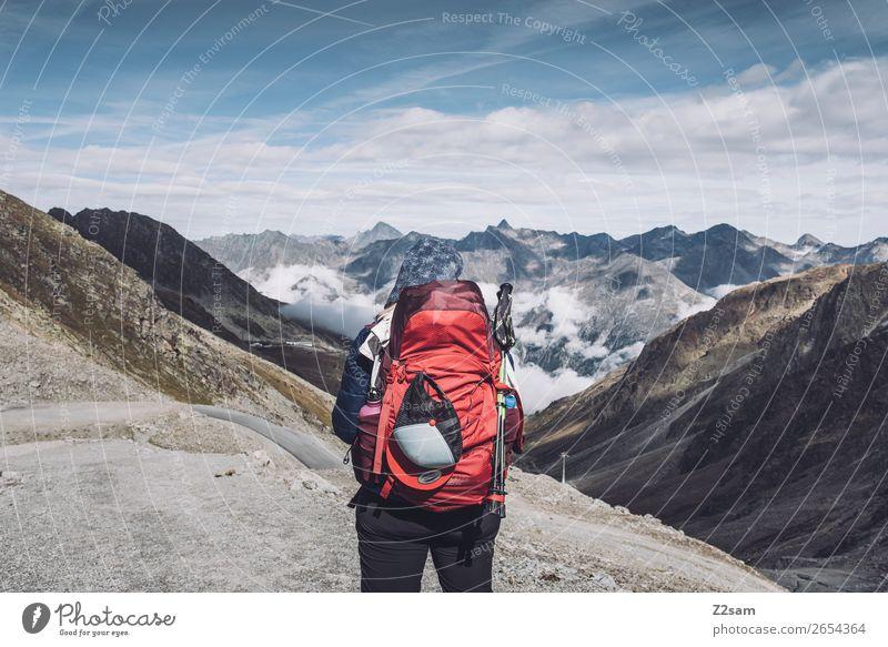 View in direction Sölden | Rettenbachgletscher | E5 Vacation & Travel Adventure Expedition Hiking Feminine Nature Landscape Sky Clouds Autumn Alps Mountain Peak