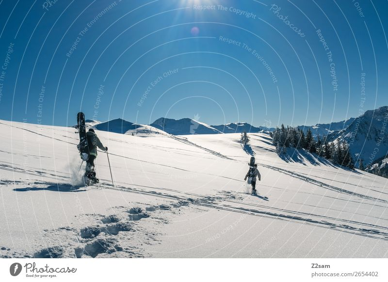 Hiking | Freeride Vacation & Travel Trip Winter Mountain Winter sports Snowboard 2 Human being Nature Landscape Sun Beautiful weather Alps Going Sports