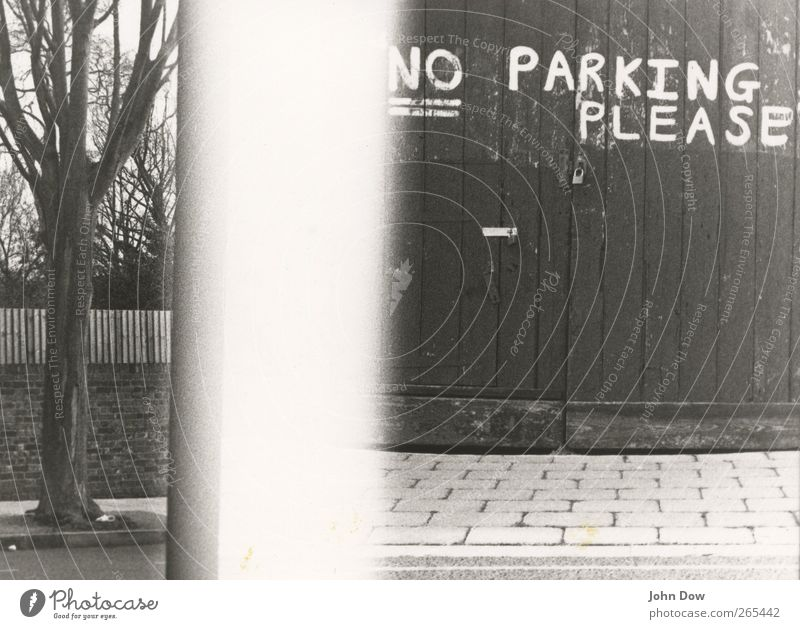 no park in the parking lot Tree Garden Park Town Street Characters Bans Clearway London Parking Pave English Handwriting Garage door Gate Hut Analog