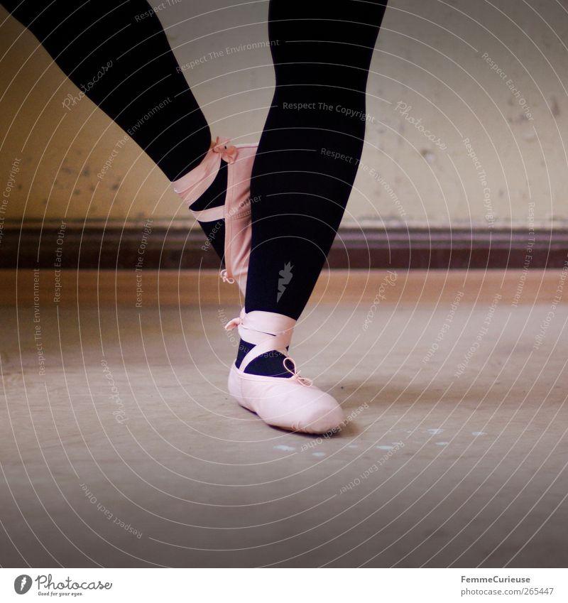 Black Movement Dance Pink Esthetic Stand Posture Balance Ballet Sports Training Tights Dancer Artist Practice Ballet shoe Woman's leg