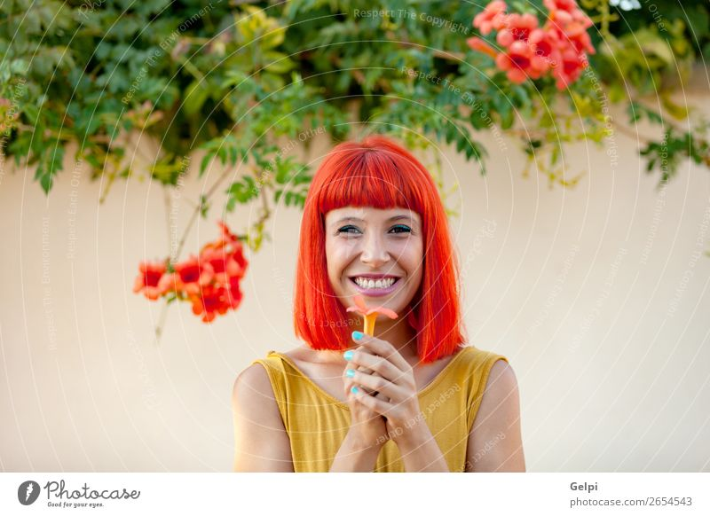 Happy woman with red hair and yellow dress Woman Human being Nature Summer Plant Colour Beautiful White Red Flower Joy Face Lifestyle Adults Yellow