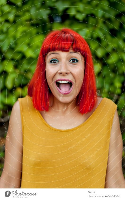 Surprised red haired woman in a park Lifestyle Style Joy Happy Beautiful Hair and hairstyles Face Wellness Summer Human being Woman Adults Nature Plant Park