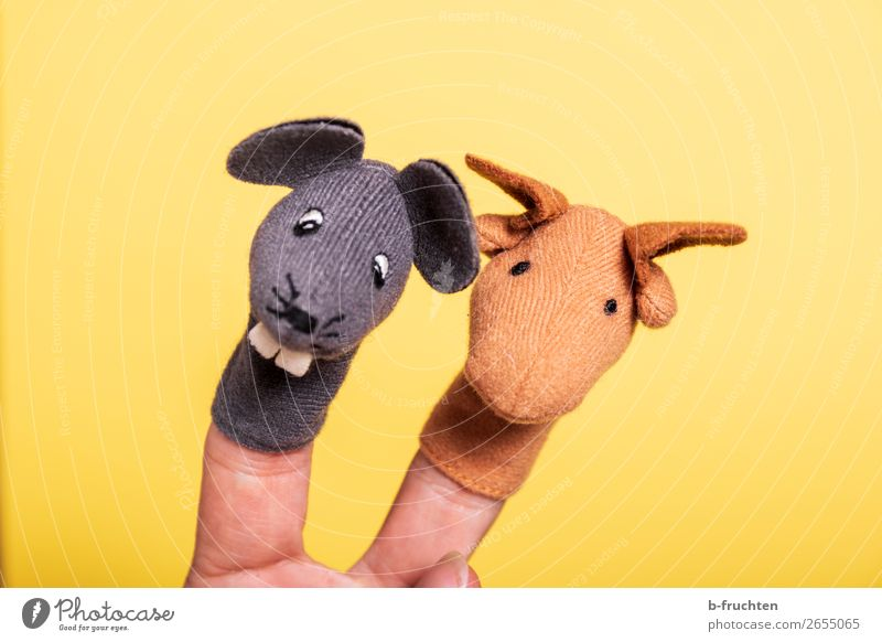 The two of us Toys Doll Kitsch Odds and ends To hold on Playing Yellow Finger puppet Mouse Horse 2 Pair of animals In pairs Joy Theatre Fingers Colour photo
