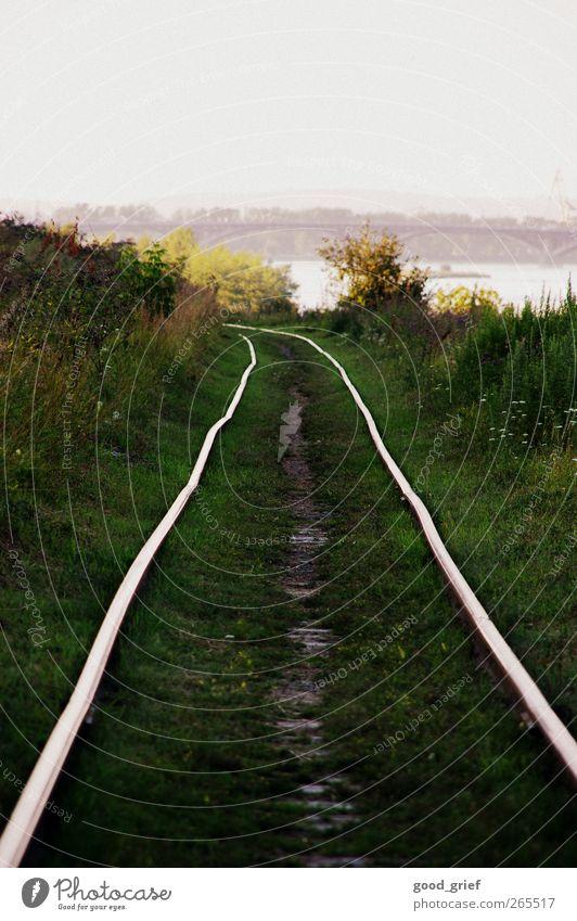 transsib Transport Traffic infrastructure Old Logistics Railroad tracks Rail transport Siberia Railroad tie Russia Green Grass Coast angara River Bridge