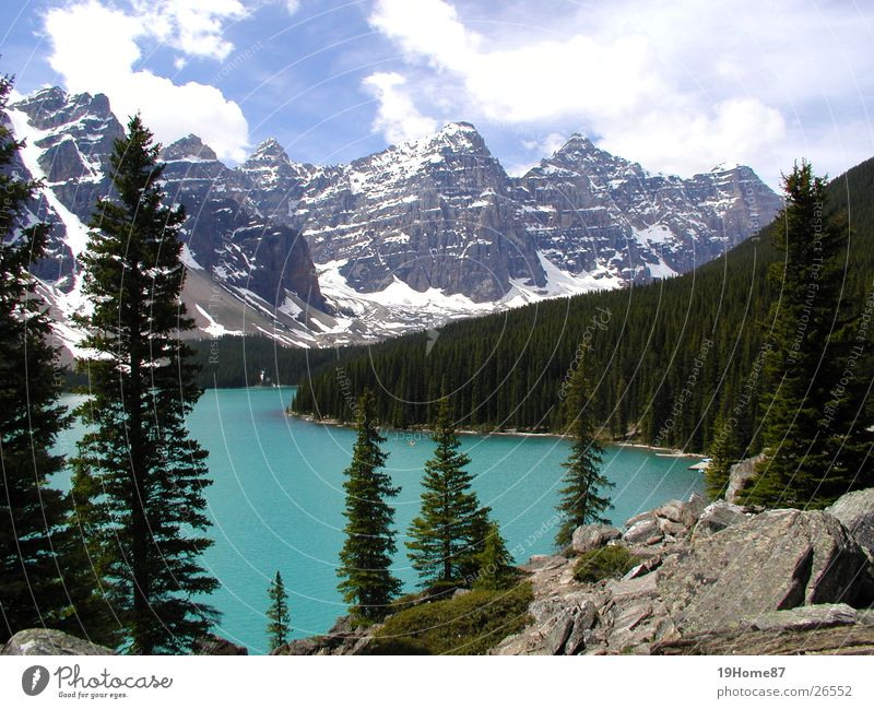 Moraine Lake, Canada Tree Clouds Coniferous trees Romance Relaxation Loneliness National Park Mountain Nature Fog Landscape moraine Blue Calm Tall rocky