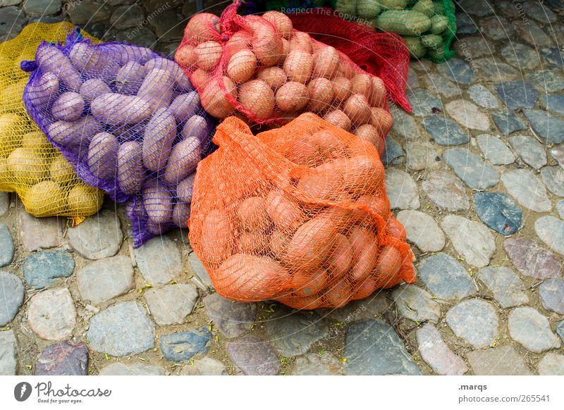 Colour Nutrition Food Many Net Vegetable Whimsical Cobblestones Trade Organic produce Sell Packaged Potatoes Market stall