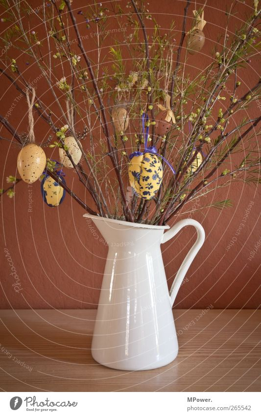 Happy Easter Plant Grass Bushes Brown Bouquet Egg Easter egg Painted Wall (building) Jug Vase Public Holiday Decoration White Carry handle Table Adorned