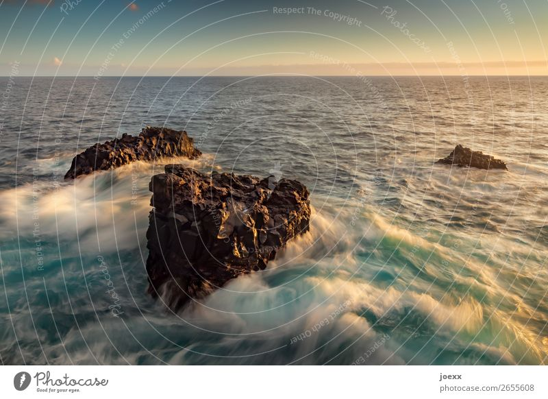 No matter what Water Horizon Rock Waves Ocean Old Sharp-edged Maritime Blue Brown Turquoise White Loyalty To console Movement Hope Stability Colour photo