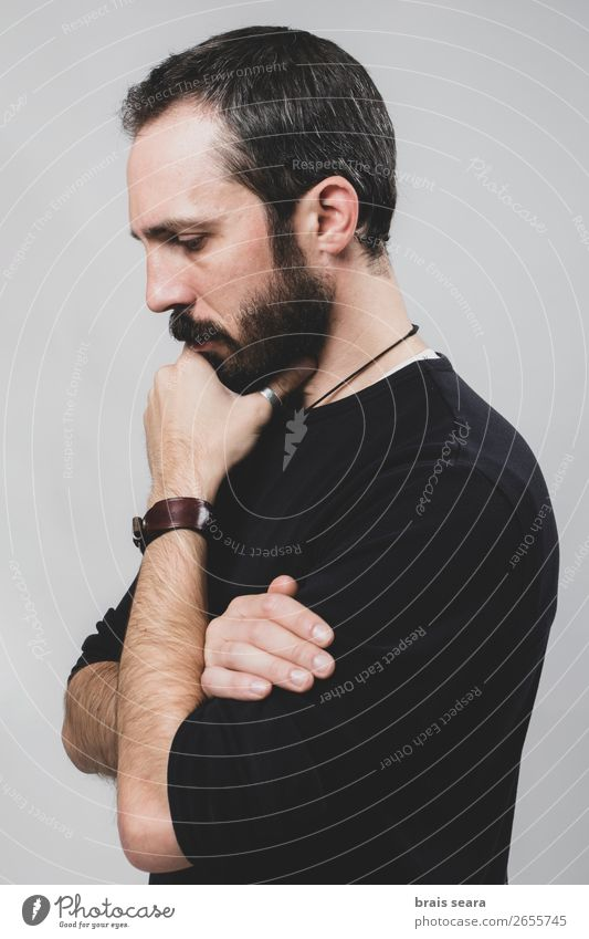 Thoughtful man Human being Man Hand Relaxation Loneliness Face Lifestyle Adults Emotions Style Fashion Head Think Masculine Modern Stand